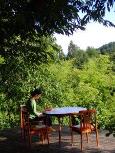 ウッドデッキにて、木陰の読書タイムです。